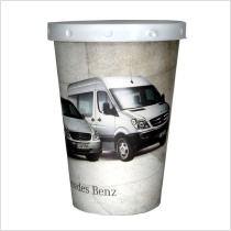 Promotional cup holder tissue box for use in cars