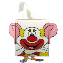custom shaped tissue box cube 100 with clown figure