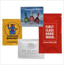 promotional wet wipes with logo printed on couche paper sachet