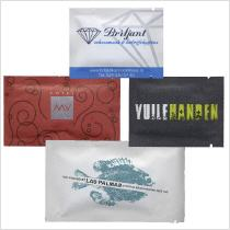 promotional wet wipes with logo printed on kraft paper sachet