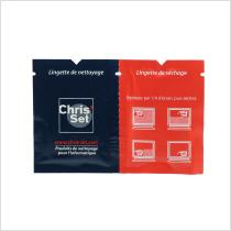 printed wet wipes for screen and lens cleaning duo sachet with wet and dry tissue
