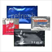 promotional wet wipes printed with logo on silver aluminium sachet